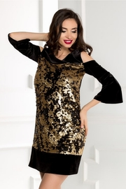 rochie scurta neagra din catifea cu paiete reversibile