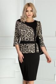 rochie scurta neagra midi cu imprimeu leopard