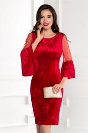 rochie scurta rosie din catifea cu perle