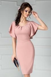 rochie scurta roz de ocazie cu volanase