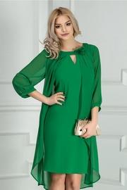 rochie scurta verde cu voal eleganta