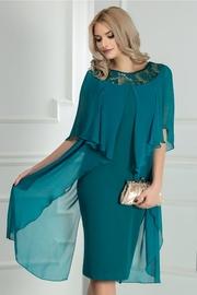 rochie scurta verde de ocazie cu broderie si voal