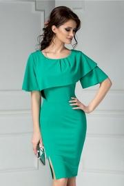 rochie scurta verde de ocazie cu volanase