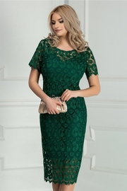 rochie scurta verde din dantela eleganta