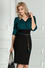 rochie scurta verde office cu decolteu